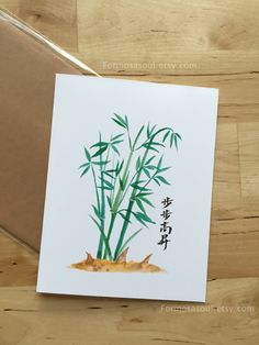 Great Future, Bamboo for the growth with Chinese Calligraphy, Congratulation, Good Luck Promotion Card by Formosasoul on Etsy Promotion Card, Chinese Calligraphy, Greeting Cards Handmade, Watercolor Illustration, Congratulations, Bamboo, Hand Painted, Future, Unique Jewelry