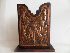 19THCENTURY Arts Crafts Mahogany Spill Holder With Thistle Design Copper Panel