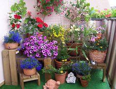 Fertige Blumentreppe mit Blumen dekoriert