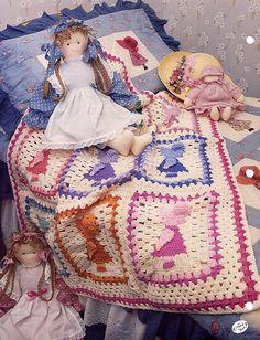 Sunbonnet Sue Crochet Afghan Pattern - Annies Attic Crochet Quilt & Afghan Club