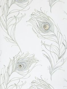 lovely peacock feather wallpaper - John Lewis. I want something like this style and colors for back of linen closet in master bath