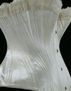 Corset 1887. The separated bust shaping here is a detail I have recently been exploring in a Sparklewren corset in deep violet silk satin.