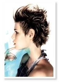 spiky pixie cut.  The back.