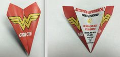 Custom Wonder Woman Paper Airplane! Personalize Verbiage, Colors, Font & More! Perfect for Birthdays, Showers, Announcements, Thank You's!