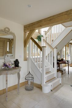 Bespoke oak framed buildings and garden rooms White Staircase, Staircase Design, Stair Railing, Stairs, Beautiful Interiors, Beautiful Homes, Bespoke Staircases, Oak Framed Buildings, Oak Frame House