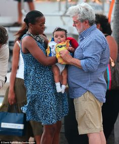 Star Wars creator George Lucas and wife Mellody Hobson on vacation with baby Everest