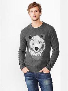Lambswool bear sweater
