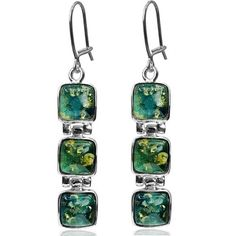 Blue Green Amber Sterling Silver Square Dangle Earrings ** Visit the image link for more details. #rings