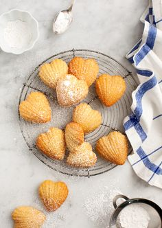 Meyer Lemon madeleine cookies from Love and Lemons! Slow Cooker Desserts, Donuts, Whole Food Recipes, Cookie Recipes, Dessert Recipes, Tea Cakes, Lemon Madeleine Recipe, Biscotti, Dessert Saint Valentin