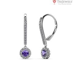 With a perfect combination of dazzle and color, this #Iolite and Diamond Halo Dangling Earring is sure to get unwavering looks.  #Danglingearings #Diamond #Love