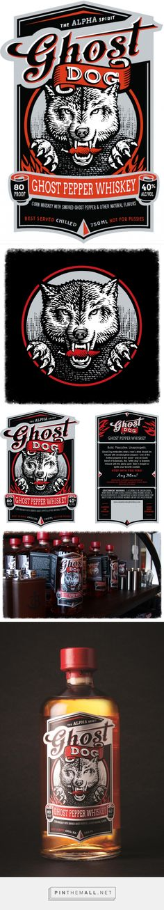 Ghost Dog Whiskey Label  and packaging Illustrated by Steven Noble on Behance curated by Packaging Diva PD. The challenge was to create an illustration that included a dog holding a pepper in it's mouth which is symbolic to their pepper whiskey flavor.