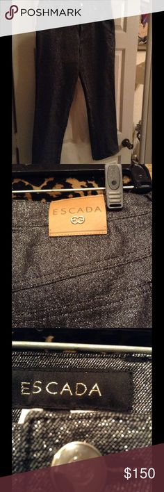 Escada Silver Stretch Jeans Perfect for the holidays, these silver/black stretch jeans by Escada are absolutely awesome, straight leg Escada Jeans Straight Leg