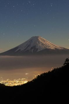 painting-a-picture:  mystic-revelations: Moonlit Fujisan By Jacky CW