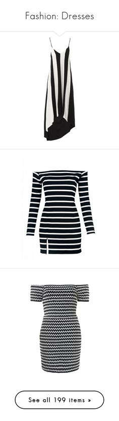 """""""Fashion: Dresses"""" by katiasitems on Polyvore featuring dresses, black white, special occasion dresses, black and white striped dress, white and black cocktail dresses, black white stripe dress, evening dresses, vestidos, multi and off shoulder dress"""