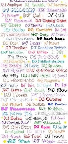 Super Fontastic has 77 creative DJ Fonts to help you create to your heart's content! Add a smile to ANY project in just one click!  http://www.djinkers.com/fonts/super-fontastic-fonts-CD.html  (Our BEST SELLING CD... featured in award-winning publications and craft magazines.)