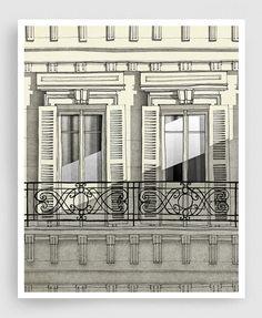Balcon de Paris vertical Paris illustration Art par tubidu sur Etsy