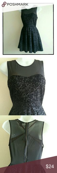 """LITTLE BLACK DRESS Floral Velvet Sheer Textured EXCELLENT CONDITION! Super gorgeous! It looks even more beautiful in person! Can dress it down or dress it waaay up with Diamonds or CZs! Textured paisley & floral, velvet-like material! Sheer upper (strapless bra needed). Zipper closure. Measurements- Armpit to armpit: 16"""" across (32"""" around), Waist/cinched area: 13"""" across (26"""" around), Top shoulder to hemline: 31"""" long. Please use the offer button for all offers. Feel free to bundle for an…"""