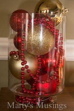 Christmas Decorating Ideas: Easy and Thrifty! Easy and thrifty Christmas Decor Ideas from Marty's Musings - I love this, and do it every year - hurricane lamps, trifle dishes, vases. Noel Christmas, Simple Christmas, All Things Christmas, Winter Christmas, Christmas Wreaths, Christmas Budget, Christmas Vacation, Country Christmas, Outdoor Christmas