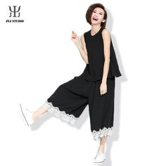 Female Waist Wide Leg Pants Top Straight Pants Loose Casual Black Chiffon Polyester Lace Edge Cropped Trousers For Women