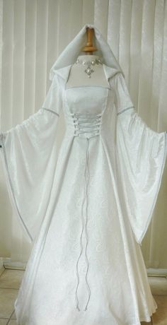 Medieval Pagan Renaissance Ivory & Silver Hooded Wedding Dress, Dawns Medieval Dresses