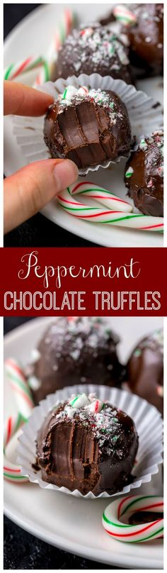 Rich and Creamy Peppermint Chocolate Truffles are made with just 5 simple ingredients! So easy and perfect for homemade holiday gifts! Köstliche Desserts, Delicious Desserts, Dessert Recipes, Yummy Food, Healthy Food, Candy Recipes, Holiday Recipes, Cookie Recipes, Christmas Sweets