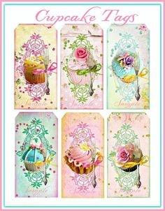 Cottage Chic Cupcake Tags Digital Download por SenecaPondCrafts, $2.00