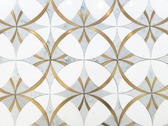 Absolutely stunning combination of Water Jet cut Thassos and Carrara Marble with Genuine Brass inlay. The beautiful interlocking ring pattern makes an elegant statement in any kitchen or bathroom. Carrara Marble Bathroom, Bathroom Floor Tiles, Marble Floor, Marble Tiles, Wall Tiles, Downstairs Bathroom, Palette Wall, Stone Tiles, Stone Mosaic