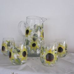 Pitcher with matching Glasses hand painted Sunflowers green