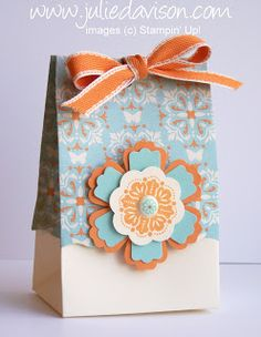 Both the top and bottom of this box are cut with the Fancy Favor die! Blossom Punch is layered with 3 Modern Label Punches. -- by Julie Davison, http://juliedavison.com