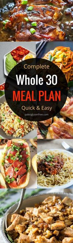 The best and easiest Whole 30 meal plan to jumpstart your body! Loose weight, build energy, and feel AMAZING!!! Healthy Whole 30 meal prep with this complete menu and diet guide. Whole30 meal planning. Easy Gluten Free and paleo recipes to get you feeling great!