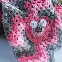 Chevron Blanket- Crochet Owl Blanket- Zig Zag Grey Gray- Owl Granny Crochet Baby Blanket- Granny Stripe Pink Grey Gray. $60.00, via Etsy.