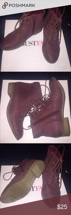 NEW BURGUNDY JUSTFAB BOOTIES! Never been worn Justfab Burgundy booties JustFab Shoes Ankle Boots & Booties
