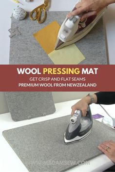 Premium pressing mat made out of 100% natural WOOL This compact, lightweight and handy sewing tabletop iron pad is perfect for sewing, quilting, embroidery, patchwork, appliqué and DIY crafts. The magic of natural wool The dense felted wool is naturally fire-resistant and absorbs the heat from your hot iron. Sewing Tips, Sewing Hacks, Sewing Tutorials, Sewing Crafts, Sewing Projects, Sewing Patterns, Diy Crafts, Felted Wool, Wool Felt