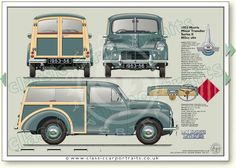 Morris Minor Traveller Series 2 1953-56 classic car portrait print