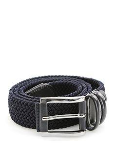 Sergio Gavazzeni - Cinture - Accessori - Cintura in pelle e corda intrecciata con fibbia silver. Altezza 3 cm. - BLU - € 65.00