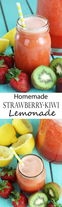 Homemade Strawberry-Kiwi Lemonade. Make it in batches and freeze for use throughout the summer.