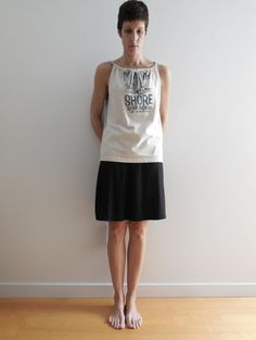 T Shirt Tank Top / Cream Gray / Girls / S  M / Eco by ohzie, $25.00