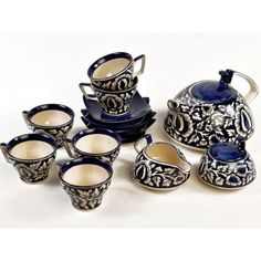 Cultural Concepts White & Blue Mughal Tea Set of Fifteen Pieces