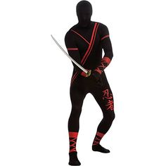 Ninja 2nd Skin Suit Adult Costume - Medium  - Click image twice for more info - See a larger selection of men skinsuit  costumes at http://costumeriver.com/product-category/men-skinsuit-costumes/  - men, halloween costumes, halloween  , classic costume, holidays, event, trick or treat , gift ideas, costumes, disguise.