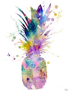 Watercolor Painting Painting - Pineapple by Watercolor Girl