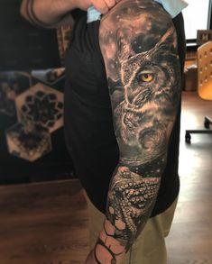 Tattoo by Jesse Rix Tattoo Now, Book Tattoo, Amazing 3d Tattoos, Creepy Drawings, Landscape Tattoo, Animal Tattoos, Tattoo Inspiration, Sleeve Tattoos, Minis