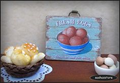 Miniature dollhouse sign  fresh eggs  1:12 scale by sashasstore
