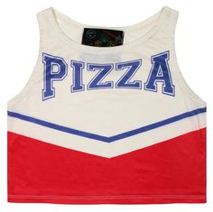 PIZZA CHEER TANK.. great with some acid washed high waisted shorts, converse, and a denim shirt? hm..