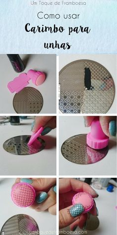 Como usar carimbo para as unhas passo a passo com estampa de sereia.