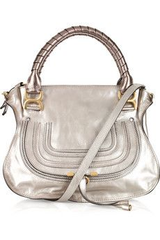 Chloe Marcie small leather tote metallic silver