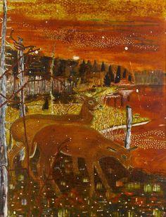 Red Deer, oil on canvas,1990, by Peter Doig.