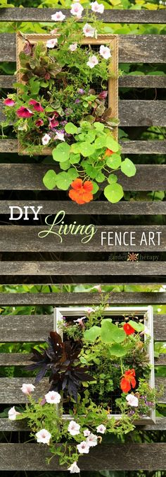 I filled vertical planter boxes made from picture frames with annuals that cascade and bloom all season. As it fills in the space, the look changes and the waves of color decorate what was once a rather blah space.
