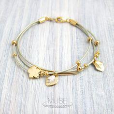 Flower and Leaf Bracelet - Leather Bracelet, Multi Strand Bracelet, Layered Bracelet, Gold Charm Bracelet, Stacked Bracelet, Bridesmaid Gift
