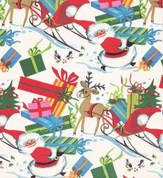 Vintage Christmas Wrap 1960s Santa, via Flickr.