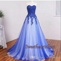A Line Blue And White Wedding Dresses Sweetheart Applique Tulle Pleated Court Train Wedding Bridal Dress…